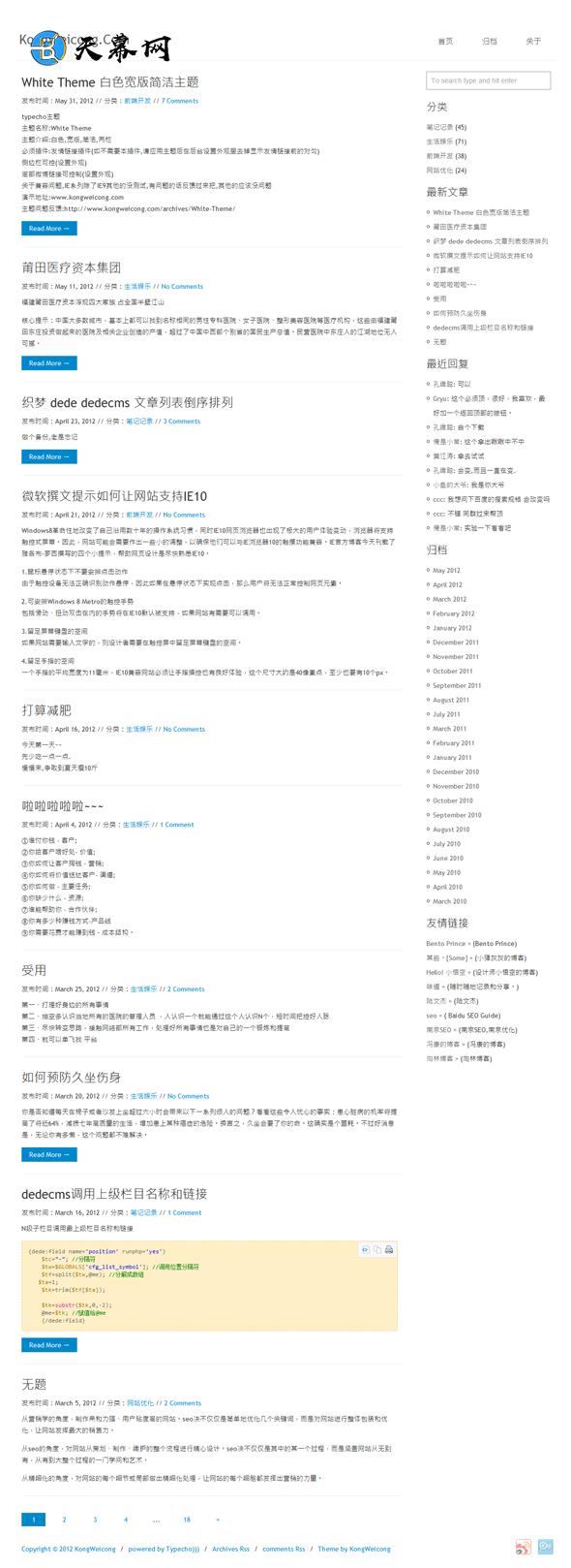 Typecho免费主题WhiteTheme白色宽版简洁模板 博客模板 第1张
