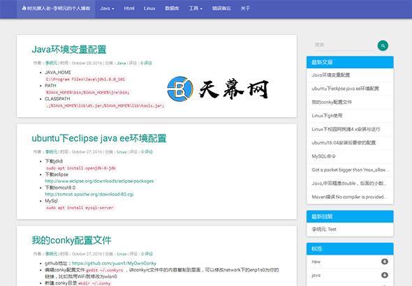 Typecho免费主题YTheme 蓝白风格自适应 博客模板 第1张